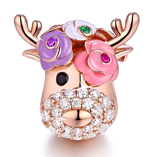 Buy Forever Queen Deer Bead Elk Head Charms Fit For Pandora Bracelets 925 Sterling Silver With Cubic Zirconia Jewelry Online In Indonesia B07mv6m4zv