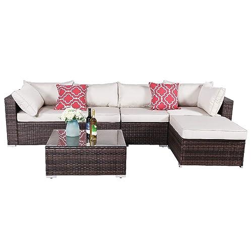 Oakville Furniture 61116 6 Piece Made, Patio Furniture 3 Piece Sectional Sofa Resin Wicker Beige