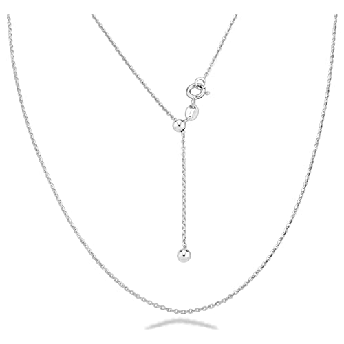 """Sterling Silver 1 mm Adjustable Solid Cable 16-18/""""  Chain"""