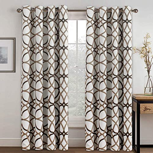 Blackout Curtains 96 Inches Long, White Room Darkening Curtains 96 Inch