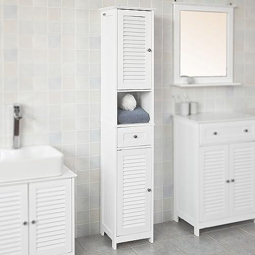 Haotian White Floor Standing Tall, Tall Bathroom Linen Cabinets