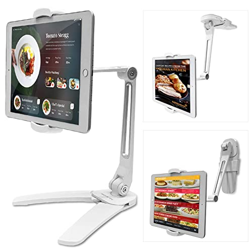 Buy Ipad Stand Abovetek Kitchen Tablet Stand Highflex 360 Counter And Wall Wobble Free Ipad Holder 4 7 To 13 5 Inch Universal Desktop Ipad Mount Phone Holder 3 Free Wall