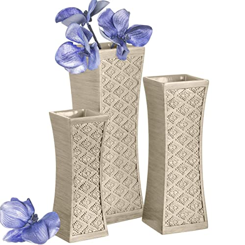 Buy Dublin Flower Vase Set Of 3 Centerpieces For Dining Room Table Decorative Vases Home Decor Accents For Living Room Bedroom Kitchen More Packaged In Gift Box Brushed Silver Online