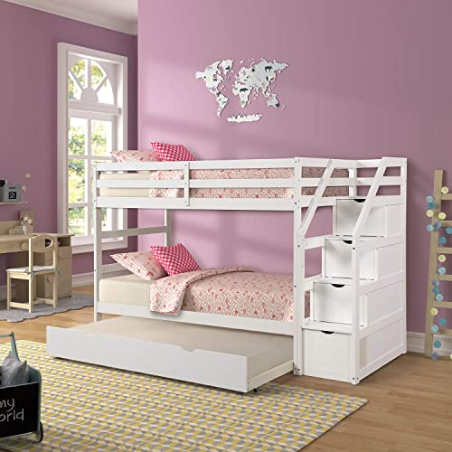 Twin Over Bunk Bed With Trundle, Bunk Bed With Trundle And Storage Drawers