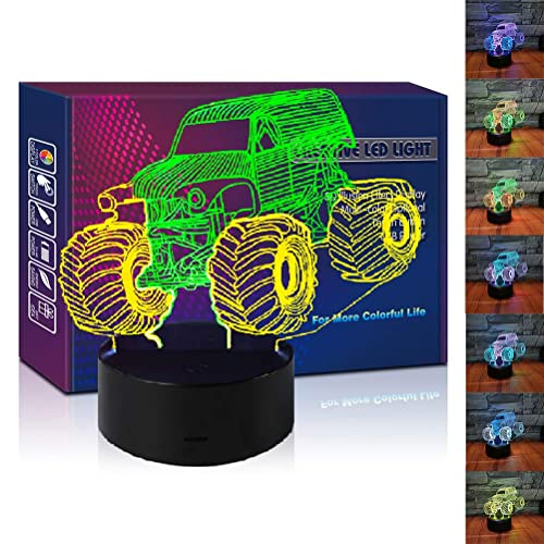Buy Hipiya Monster Jam Truck 3d Illusion Led Lamp Mixed Color Car Night Light Birthday Gift Festival Present For Toddler Baby Boy Teen Men Kid Fan Home Toy Decoration Room Bedroom Decor