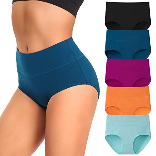 5 Pack Women Underwear Full Coverage Cotton Ladies High Rise Briefs Panties Plus