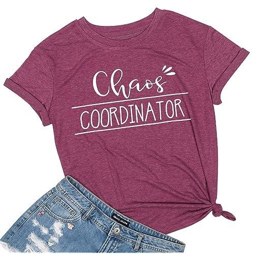 Women Chaos Coordinator Top Funny Summer Casual Short Sleeve Tee Blouse T-Shirt