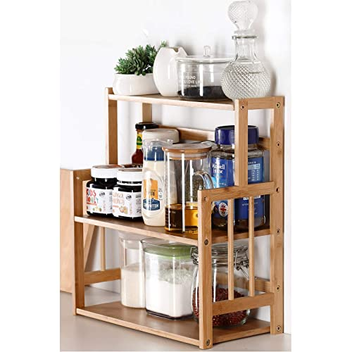 Buy Bamboo Spice Rack Storage Shelves 3 Tier Standing Pantry Shelf For Kitchen Counter Storage Bathroom Countertop Storage Organizer Desk Bookshelf With Adjustable Shelf Cabinet Online In Indonesia B0833tg6l1