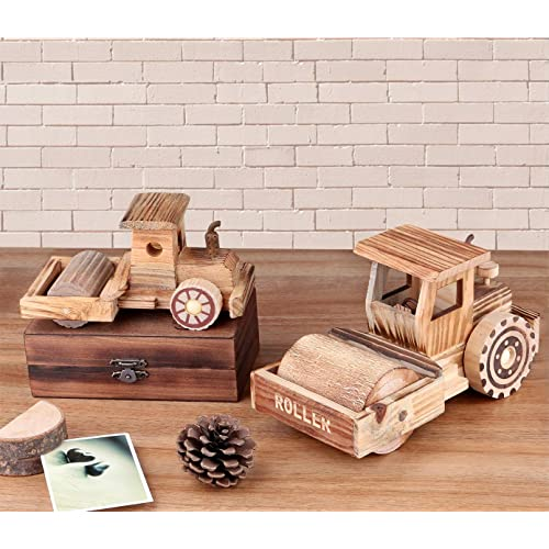 Vintage Wooden Train Engine Model for Home Decor Tabletop Ornament Art Craft Collectibles Dedoot Retro Wood Train Model Wood Color