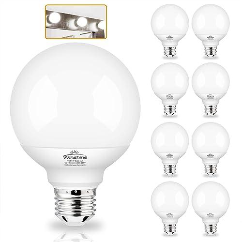 G25 Globe Light Bulbs 8 Pack Led, Bathroom Vanity Light Bulbs