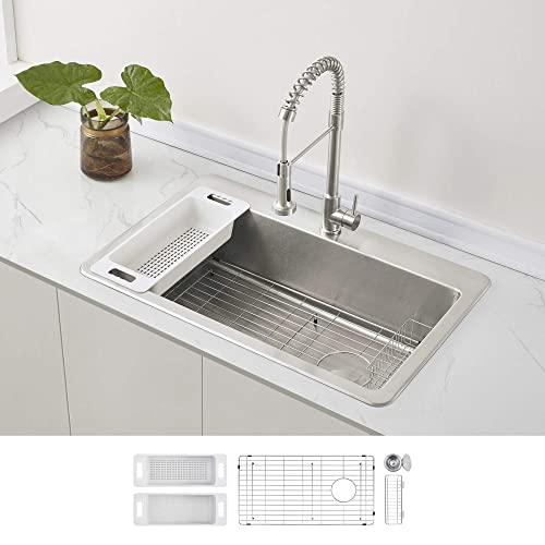 Buy Zuhne Stainless Steel Single Bowl Kitchen Sink With Offset Drain 33x22 Drop In Online In Indonesia B082kd3yyp