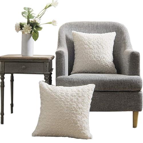 "18x18/""Mongolian Fur Pillow Case 45x45cm Square White Fur Cushion Cover US Stock"