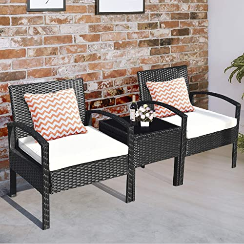 Tangkula 3 Piece Patio Conversation, 3 Piece Wicker Patio Conversation Set With Beige Cushions