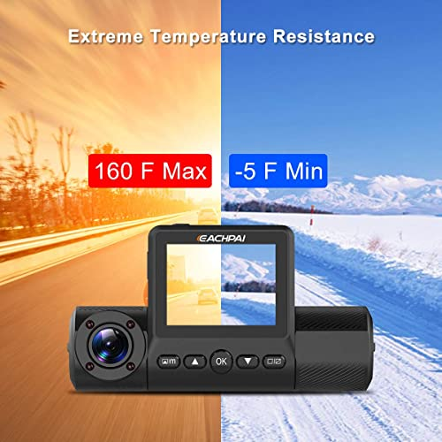 EACHPAI X200 Dual Dash Cam FHD 1080P 2/'/' Screen Car Dash Camera 270/° Rotation Motion Detection,Super Capacitor Parking Monitor Car Camera IR Night Vision
