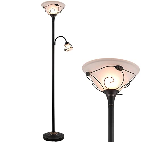 Co Z Torchiere Floor Lamp With Side, Torchiere Floor Lamp With Shelves