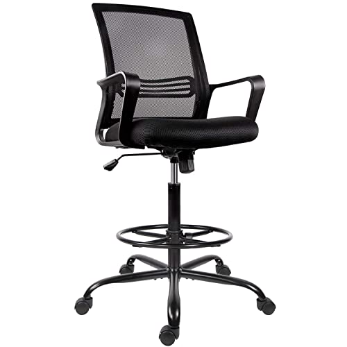 Standing Desk Drafting Mesh Table Chair, High Office Chair For Standing Desk