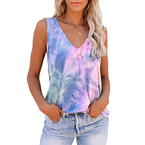 Womens Buttons O-Neck Tie-dye T Shirts Summer Sleeveless Tank Tops Loose Blouse