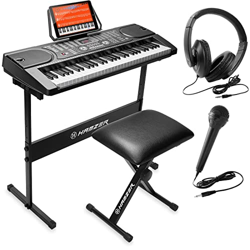 Hamzer 61 Kunci Piano Keyboard Elektronik Portabel Dengan Dudukan Bangku Headphone Mikrofon Buy Products Online With Ubuy Indonesia In Affordable Prices B0714jfq7f