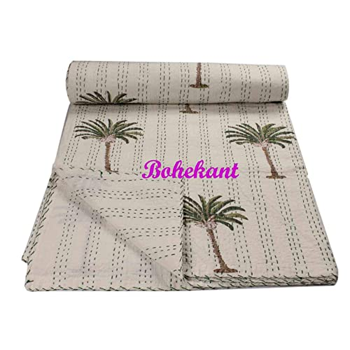 Bohemian Queen Queen Bedcover Palm Block Print Handmade Kantha Cotton Bedspread