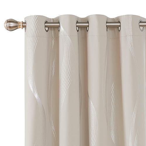 """Deconovo Grommet Blackout Curtains Gold Foil Wave Printed 52/"""" x 96/"""" Navy Blue"""