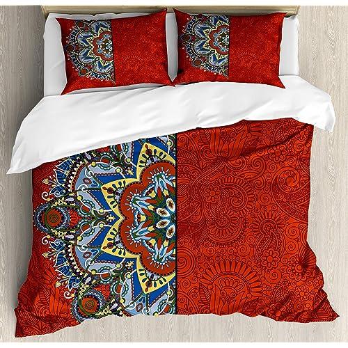 Flower Quilted Bedspread /& Pillow Shams Set Purple Ombre Lotus Art Print