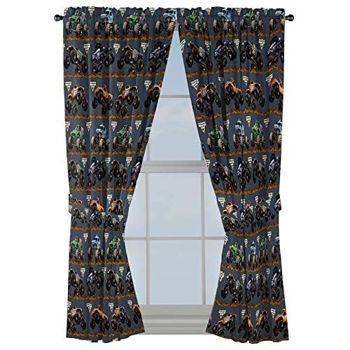 Buy Monster Jam Tracks 63 Inch Drapes Beautiful Room Decor Easy Set Up Bedding Curtains Include 2 Tiebacks 4 Piece Set Official Monster Jam Product Online In Indonesia B08pdmlw9p
