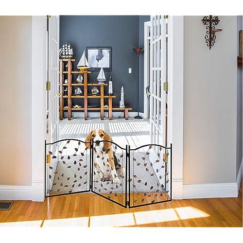 Zoogamo 3 Panel Leaf Design Metal, Outdoor Pet Gate With Door