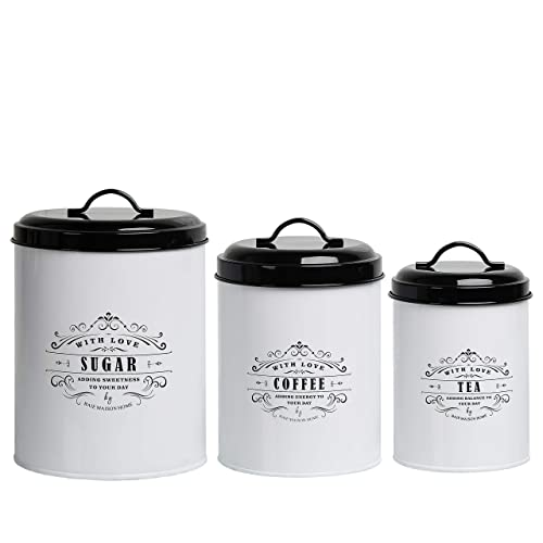 Buy Baie Maison Large Kitchen Canisters Set Of 3 Farmhouse Canister Sets For Kitchen Counter White Coffee Tea Sugar Container Set Rustic Kitchen Canisters Farmhouse Style Decor Metal