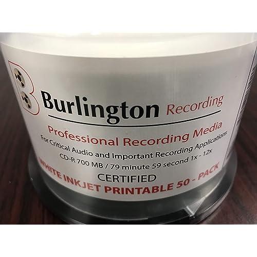 Burlington Recording 80 Min Pro CD-R CERTIFIED Inkjet Printable 1x-12x 200 PK