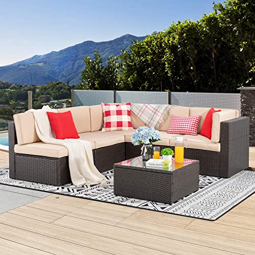 Small Outdoor Sectional Sofa Couch, Patio Furniture 3 Piece Sectional Sofa Resin Wicker Beige