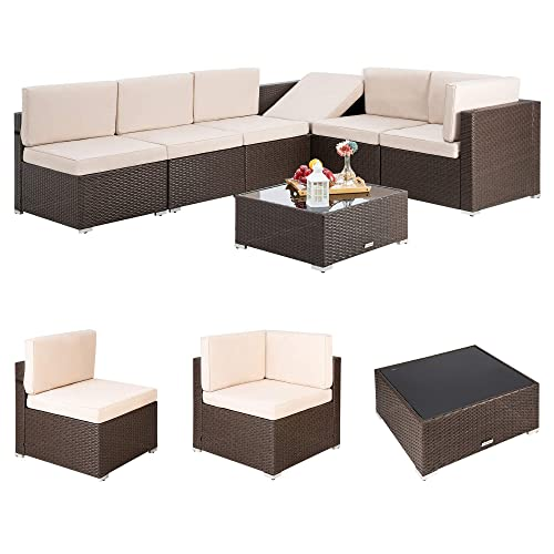 Pamapic 7 Pieces Outdoor Sectional, Rattan Furniture Cushion Covers