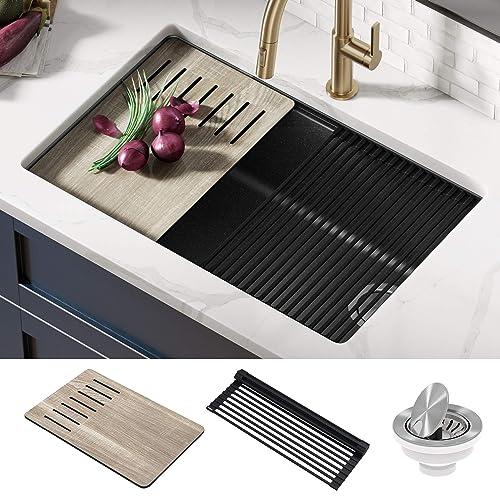 Buy Kraus Kguw2 30mbl Bellucci Workstation 30 Inch Undermount Granite Composite Single Bowl Kitchen Sink Metallic Black Online In Indonesia B08gg79t6q