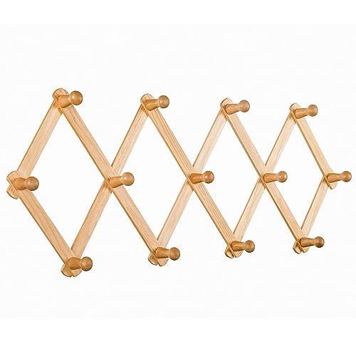 Aitufiy Wall Expandable Coat Rack, Accordion Style Expandable Wall Wooden Coat Rack