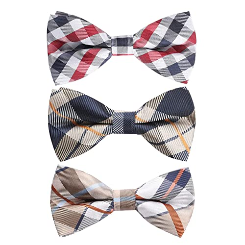Grey White Polka Dot Silk Bow Tie Pre-Tied Tuxedo Tie B6