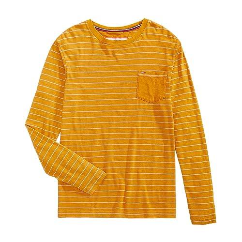 Tommy Hilfiger Men/'s Black Henson Crew-Neck Long Sleeve T-Shirt