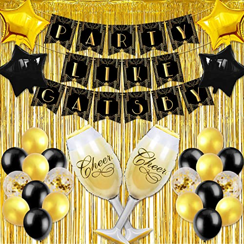 JeVenis Set of 15 Roaring Good Time Balloons Great Gatsby Party Decoration 20s