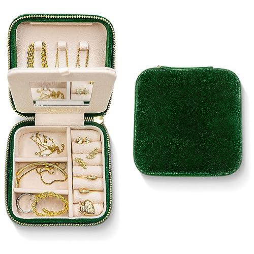 Plush Velvet Travel Jewelry Box, Safekeeper Mirror Jewelry Organizer