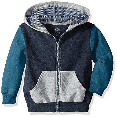 Athletic Smoke Blue Stripe//T.Blue Amulet Teal Heather Medium Fruit of the Loom Boys Big Fleece Crewneck Sweatshirt