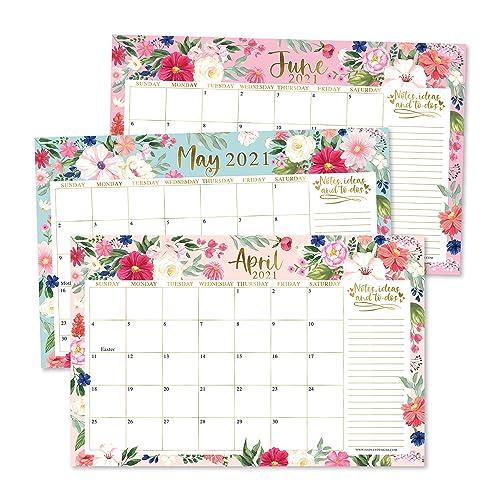 Buy Pink Teal Floral 2021 2022 Desk Calendar Large Monthly Wall Planner 18 Month Academic Desktop Calendar Or Fridge Planning Blotter Pad Notes Section For Teacher Family Or Business Office 11x17 Online
