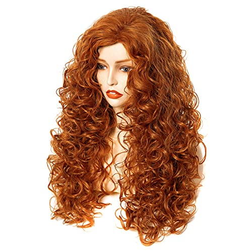 Buy Rugelyss Long Wavy Wigs 28 Inches Natural Copper Fox Red Synthetic Kinky Curly Hair Wig For Women Online In Indonesia B08k73mxsh