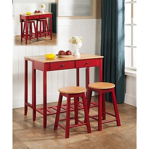 Buy Kings Brand Furniture 3 Piece Kitchen Island Breakfast Bar Set Drop Down Table 2 Stools Online In Indonesia B00iywahjk
