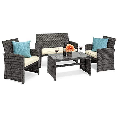 Best Choice S 4 Piece Wicker, Gray Wicker Patio Furniture