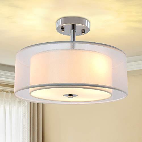 Semi Drum Flush Mount Light, Drum Lighting For Dining Room