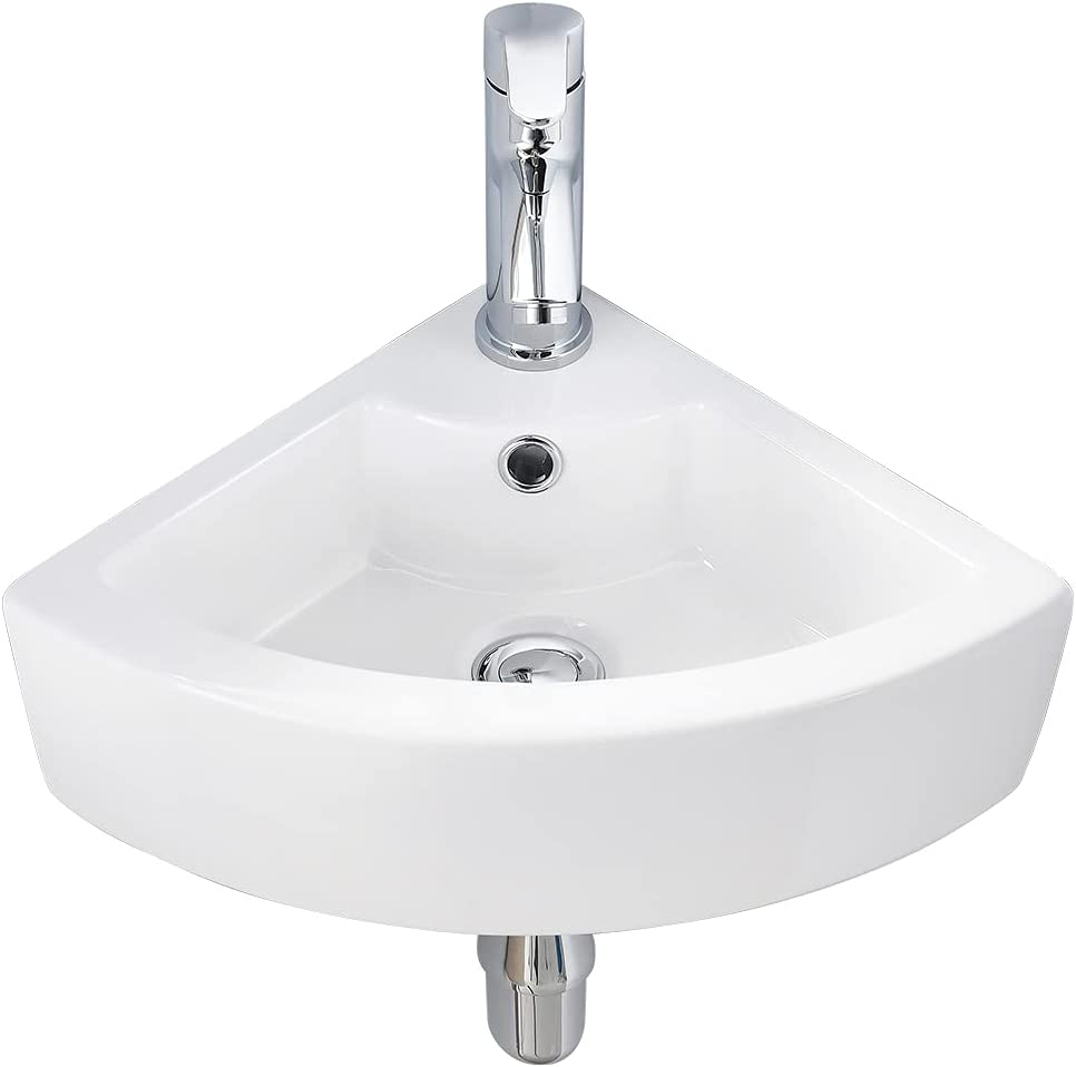 Buy Vasoyo Small Corner Bathroom Sink Wall Mount White Triangle Porcelain Ceramic Above Counter Mini Wall Vanity Vessel Sinks With Single Faucet Hole And Overflow Online In Indonesia B085d9jg7p