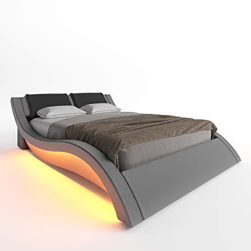 Ztozz Milan Wave Like Led Bed Frame, Upholstered Platform Queen Bed Frame