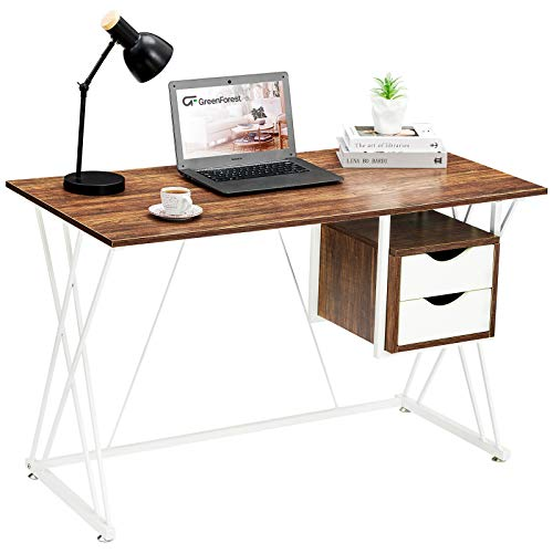 Greenforest Small Computer Office Desk, Double Desk Home Office With Drawers