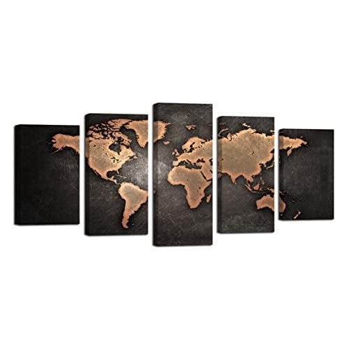 Buy Ardemy World Map Wall Art Canvas Antiquated Vintage Picture Abstract Globe Map Of The World Painting Prints Multi Panels Artworks Framed Large Size 5 Panels For Living Room Home Office Wall