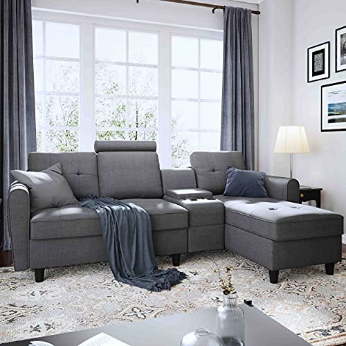 Honbay Convertible Sectional Sofa, Grey Fabric Sectional Sofa