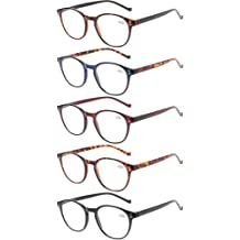 1458f95686e1 5 Pairs Reading Glasses - Standard Fit Spring Hinge Readers Glasses for Men  and Women