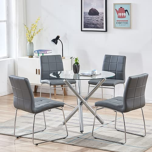 4 Grey Faux Leather Dining Chairs Set, Round Glass Top Dining Table With 4 Chairs
